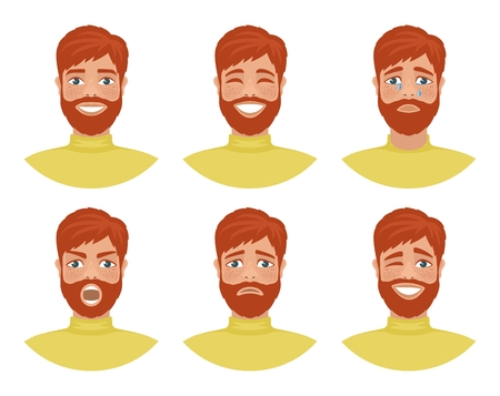 Set van mens avatars die verschillende emoties uitdrukken: vreugde, verdriet, gelach, tranen, woede, walging, huilen. Roodharige bebaarde man met blauwe ogen. Stripfiguur geïsoleerd op een witte achtergrond. Vector.