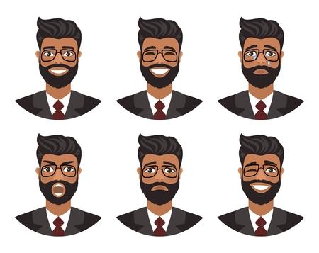 Eine Reihe von Avataren von Männern, die verschiedene Emotionen ausdrücken: Freude, Traurigkeit, Lachen, Tränen, Wut, Ekel, Weinen. Braune Augen, dunkle Haut, schwarze Haare und Brille. Cartoon-Figur isoliert auf weißem Hintergrund.