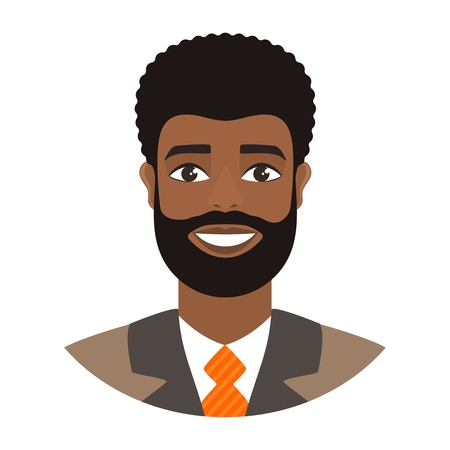 Portrait of smiling afro man. Bearded businessman in suit and orange tie. Dark curly hair and brown eyes. Flat cartoon character isolated on a white background. Vector illustration.
