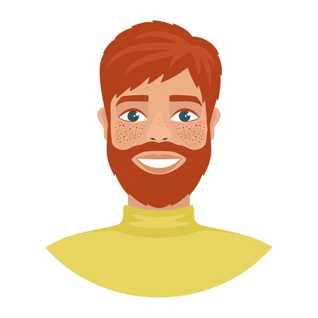 Portrait of a happy smiling redhead woman wearing a yellow poloneck sweater. Fun mood. Flat cartoon character isolated on a white background. Vector illustration.