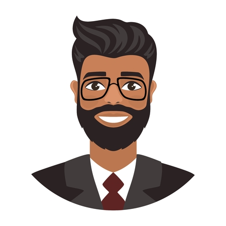 Portrait of a happy smiling young indian man in suit and red tie. Brown eyes, dark skin and black hair. Fun mood. Flat cartoon character isolated on a white background. Vector illustration.