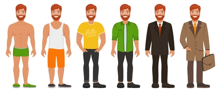 Smiling man in different types clothes. Casual, formal and business style. Bearded redhead guy with blue eyes. Cartoon male characters standing on a white background. Flat vector image.