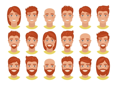 Set of mens avatars with various hairs Redhead guys. Cartoon portraits isolated on white background. Flat style. Vector illustration.