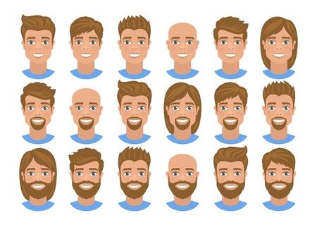 Ensemble d'avatars pour hommes avec divers cheveux Cheveux blonds, yeux bleus. Portraits de dessin animé isolés sur fond blanc. Style plat. Illustration vectorielle.