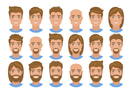 Set of mens avatars with various hairs Blonde hair, blue eyes. Cartoon portraits isolated on white background. Flat style. Vector illustration.