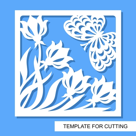 Square decorative panel with flowers and tulips White object on a blue background. Template for laser cutting, wood carving, paper cut or printing. Vector illustration. Vetores