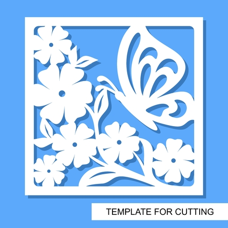 Square decorative panel with flowers and butterfly. White object on a blue background. Template for laser cutting, wood carving, paper cut or printing. Vector illustration.