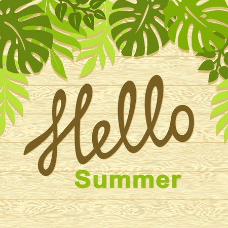 Wooden background. Flat design. Text Hello Summer. Vector illustration.