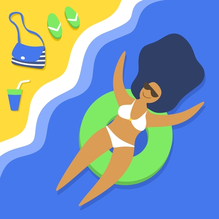 Long-haired girl swims in an inflatable ring. Sandy beach. Hot and sunny. Young happy woman relaxes and sunbathes. Summer vacation. Cartoon character. Flat style. Vector illustration.