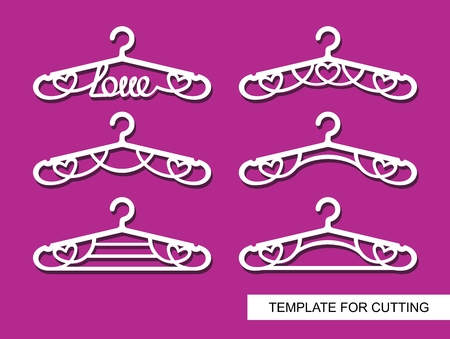 Set of clothes and hangers Decorative items for atelier, wedding salon, boutique or store. Template for laser cutting, carving, paper cutting or printing. Vector