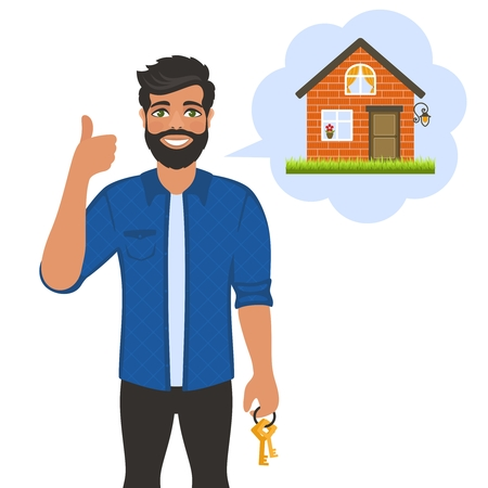 Real estate broker agent with keys. House building, mortgage, property home, Cartoon character on white background. Flat style. Vector illustration. Ilustração
