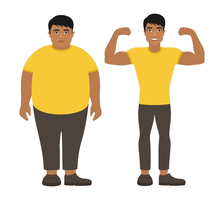 Sad fat and happy healthy slim asian man. Weight loss lifestyle, body care. Obesity problem. View before and after diet and sport. Cartoon characters on white background. Flat vector illustration. Иллюстрация
