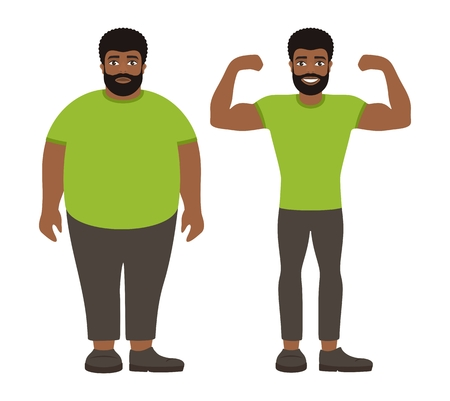 Sad fat and happy healthy slim afro man. Weight loss lifestyle, body care. Obesity problem. View before and after diet and sport. Cartoon characters on white background. Flat vector illustration.