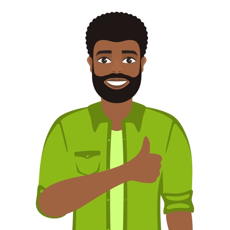 Happy smiling man shows thumbs up. Gesture, symbol or sign Like, cool, agree, approve. Brown-haired guy with brown eyes Cartoon positive character on white background. Vector image.