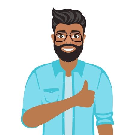 Heureux homme souriant montre les pouces vers le haut. Geste, symbole ou signe Aimez, cool, acceptez, approuvez. Mec aux cheveux bruns aux yeux bruns Personnage positif de dessin animé sur fond blanc. Image vectorielle.