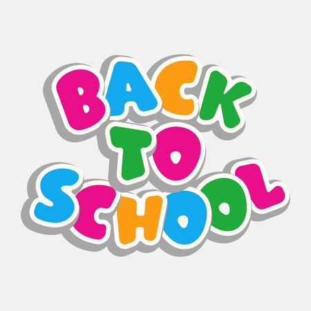 Text Back to School on gray background. Bright multi-colored letters (red, yellow, green, blue). Cartoon style. Design elements for cards, leaflets, flyers, envelopes, covers, sales. Illustration