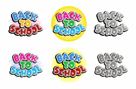 Set of text back to school isolated on white background. Bright multi-colored and monochrome letters. Cartoon comic style. Design elements for cards, flyers, stickers for shop sales.