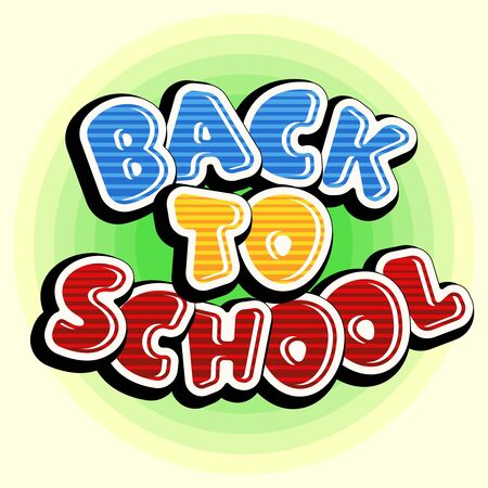 Colorful text back to school. Bright multi-colored letters (red, yellow, blue). Cartoon retro style. Design elements for cards, leaflets, flyers, envelopes, shop sales. Иллюстрация