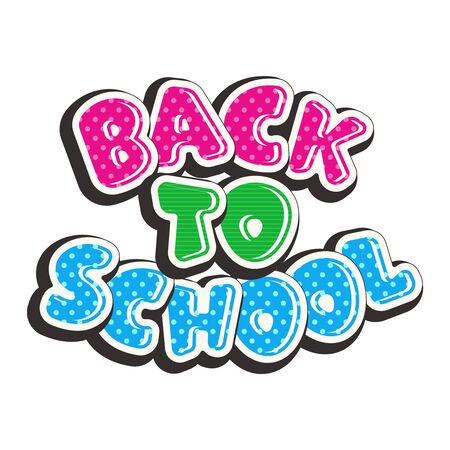 Colorful text back to school isolated on white background. Bright multi-colored letters (pink, green, blue). Cartoon comic style. Design elements for cards, leaflets, flyers, envelopes, shop sales. Иллюстрация