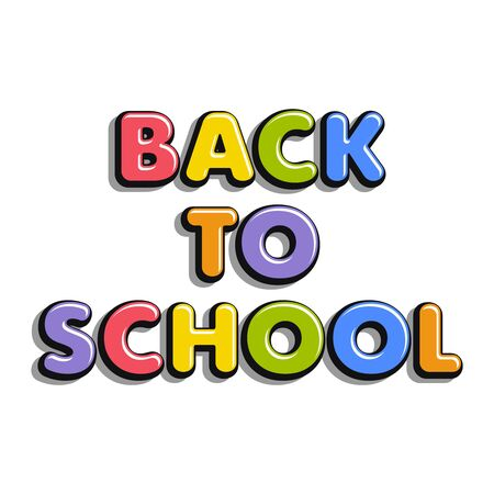 Colorful text back to school isolated on white background. Bright multi-colored volumetric letters (pink, green, blue, violet). Cartoon style. Design elements for cards, leaflets, flyers, shop sales.