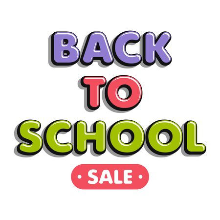 Colorful text back to school isolated on white background. Bright multi-colored volumetric letters (pink, green, violet). Cartoon style. Design elements for cards, leaflets, flyers and shop sales.