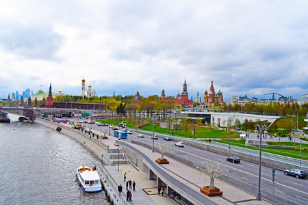 Moscow, Russia - may 2, 2019. Panoramic view of the city center: river, seafront, Kremlin, St. Basils Cathedral, ancient temples and modern skyscrapers. Copy space.