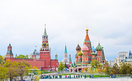 Moscow, Russia - may 2, 2019. Beautiful view of the Kremlin, St. Basils Cathedral and Red Square. City center. Copy space.