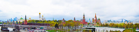 Moscow, Russia - May 2, 2019. Beautiful view of the whole city center: the Kremlin, St. Basils Cathedral, Red Square, a skyscraper, a river. Copy space.