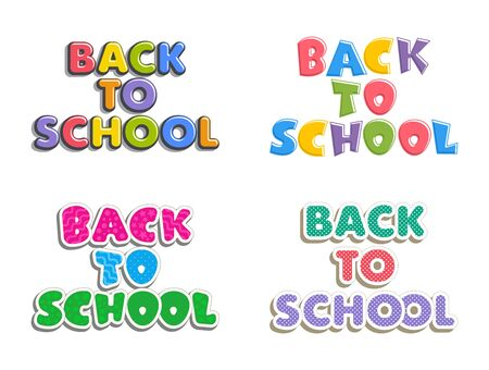 Set of text back to school. Bright multi-colored letters isolated on white background. Cartoon comic style. Design elements for cards, leaflets, flyers, envelopes, shop sales. Illustration