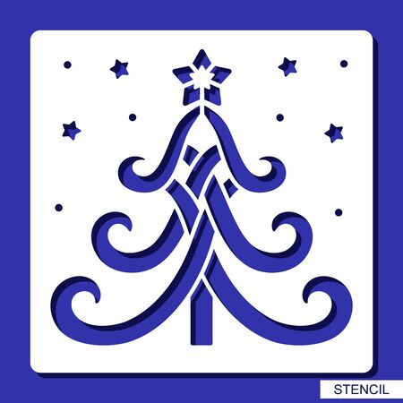 New years decoration - stencil with Christmas tree and stars. Template for laser cutting, wood carving, paper cut and printing. Vector illustration.