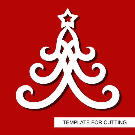 Decoración de año nuevo - árbol de Navidad con estrellas. Plantilla para corte láser, tallado en madera, corte e impresión de papel. Ilustración vectorial. Ilustración de vector
