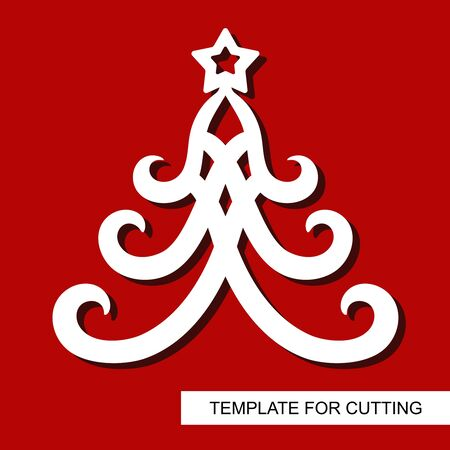 New years decoration - Christmas tree with stars. Template for laser cutting, wood carving, paper cut and printing. Vector illustration.