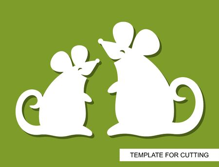 Silhouettes of cute smiling mice. White cartoon characters on a green background. Toy rats. Template for laser cutting, wood carving or paper cut. Decor for childrens room. Vector illustration.