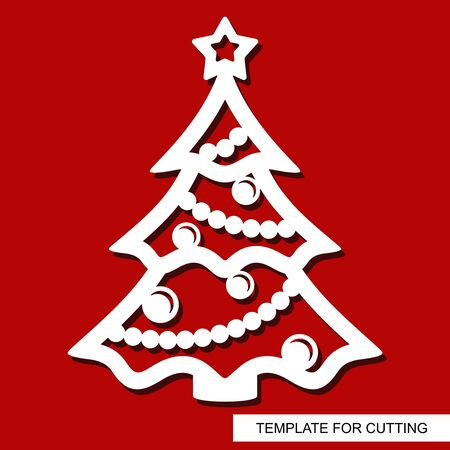 New years decoration - Christmas tree with star, balls and garlands. Template for laser cutting, wood carving, paper cut and printing. Vector illustration. Vetores
