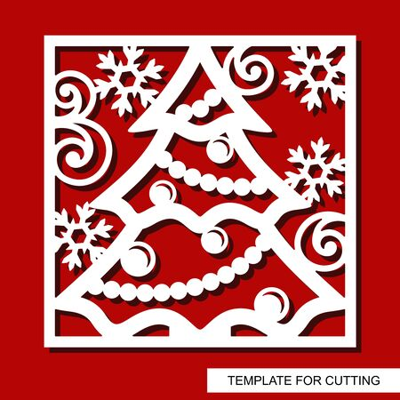 Square decorative panel with Christmas tree, star, balls, garlands and snowflakes. White object on a red background. Template for laser cutting, wood carving, paper cut or printing. Vector image. Иллюстрация