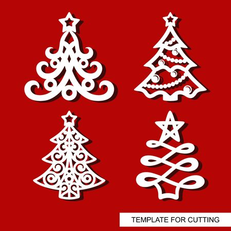 Set of New years decorations - Christmas trees with stars, balls, garlands and snowflakes. Template for laser cutting, wood carving, paper cut and printing. Vector illustration.