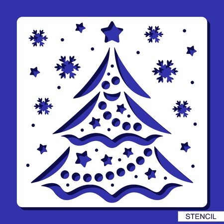 New years decoration - stencil with Christmas tree, stars, balls, garlands and snowflakes. Template for laser cutting, wood carving, paper cut and printing. Vector illustration.