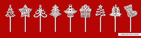 Set of New years decorations - toppers for cakes with Christmas tree, star, gift, angel, sock, gift, candles. Template for laser cutting, wood carving, paper cut and printing. Vector illustration. Иллюстрация