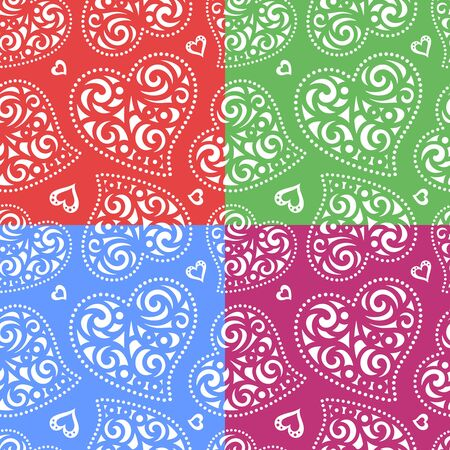 Set of seamless patterns with hearts. Romantic background for Valentines Days or wedding cards. Repeating texture for wallpaper design, textile, wrapping paper. Vector illustration.