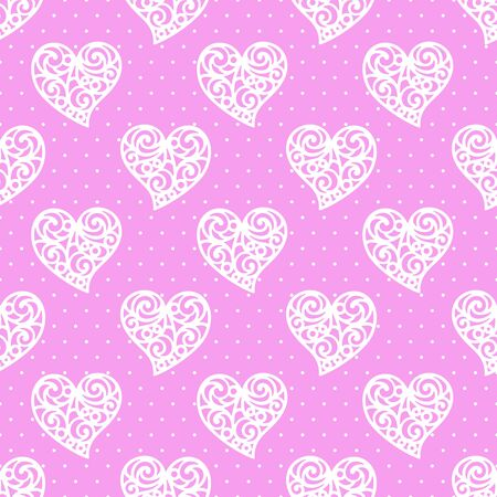 Seamless pattern with hearts. White and pink colors. Romantic background for Valentines Days or wedding cards. Repeating texture for wallpaper design, textile, wrapping paper. Vector illustration.
