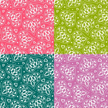 Set of seamless patterns with hearts and flowers (tulip buds). Floral background for Valentines Day or wedding cards. Repeating texture for wallpaper design, textile, wrapping paper. Vector image.