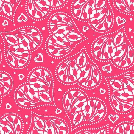 Seamless pattern with hearts and tulips. White and pink color. Floral background for Valentines Day or wedding cards. Repeating texture for wallpaper design, textile, wrapping paper. Vector image.