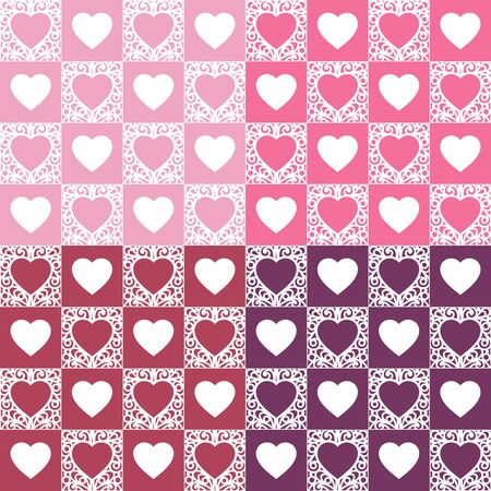 Seamless pattern with hearts. White, red and pink colors. Romantic background for Valentines Days or wedding cards. Repeating texture for wallpaper design, textile, wrapping paper. Vector image.