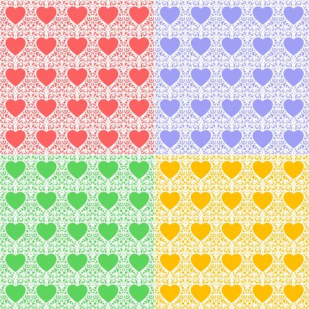 Set of multicolored seamless textures. Romantic background for Valentines Days or wedding cards. Repeating paterns for wallpaper design, textile, wrapping paper. Vector illustration.
