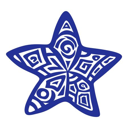 Stylized drawing of a starfish with an ornament. Blue object isolated on white background. Logo, print, symbol or tattoo. Ethno style. Vector illustration.