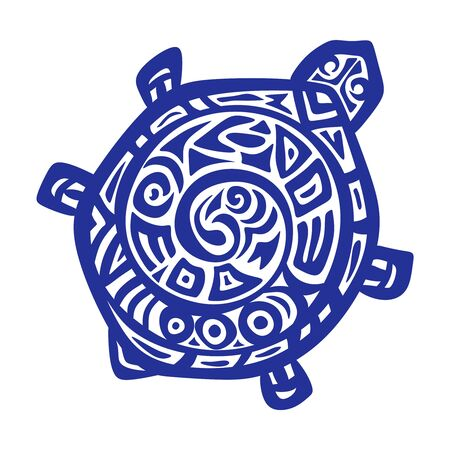 Stylized drawing of a turtle with an ornament. Blue object isolated on white background. Logo, print, symbol or tattoo. Ethno style. Vector illustration.