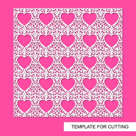 Stencil with hearts and ornament. Lace moden decor for Valentines day or wedding. Seamless pattern. Template for laser cutting, wood carving, paper cut and printing. Vector illustration.