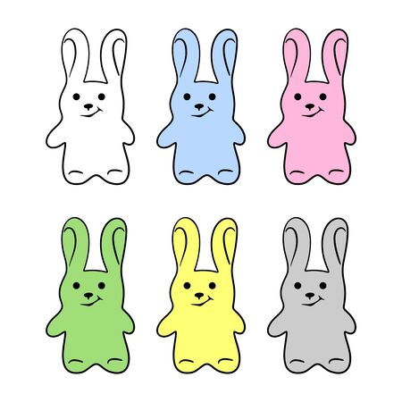 Set of cute multi-colored rabbits (hares) with a black outline. Cartoon character. Decoration for Easter or childrens party. Isolated objects on a white background. Vector illustration.