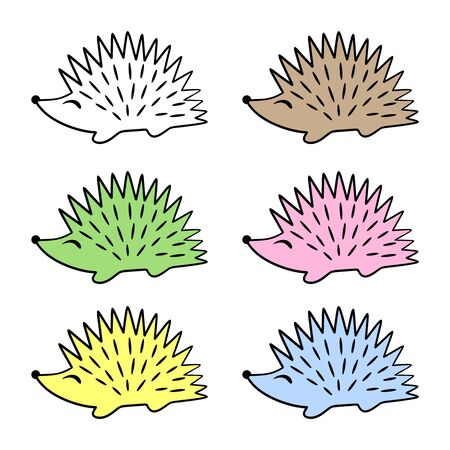 Set of cute colorful hedgehogs with a black outline. Childrens cartoon character. Isolated objects on a white background. Vector illustration. Illustration