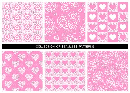 Set of seamless patterns with hearts. Decoration for wedding cards or valentines day. Repeating texture for wallpaper design, textile, wrapping paper. Pink romantic background. Vector illustration.